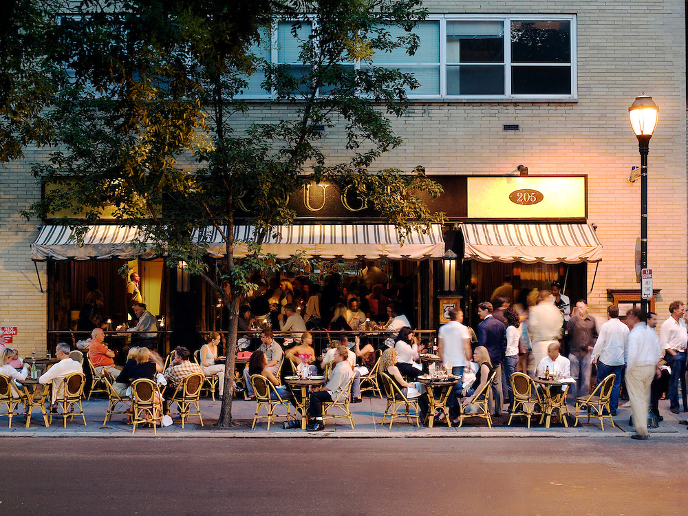 Patrons eat al fresco at Rouge Restaurant and Bar, which is located in the Rittenhouse Square area of Philadelphia.