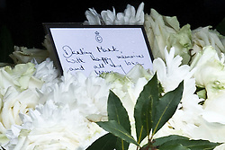 A message from Camilla on the top of Mark's coffin during her brother Mark Shand's funeral at Holy Trinity Church, Stourpaine, Dorset, United Kingdom, Thursday, 1st May 2014. Picture by i-Images