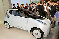 Carlos Ghosn introduces the Nissan Leaf, Nissan's first electric car at the Tokyo motorshow. October 2009.