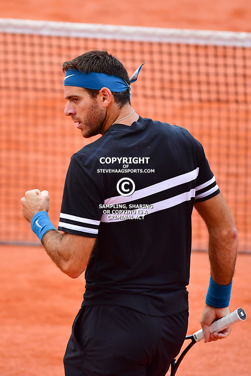 Juan Martin Del Potro of Argentina wins the first set during Day 9 of the French Open 2018 on June 3, 2018 in Paris, France. (Photo by Dave Winter/Icon Sport)