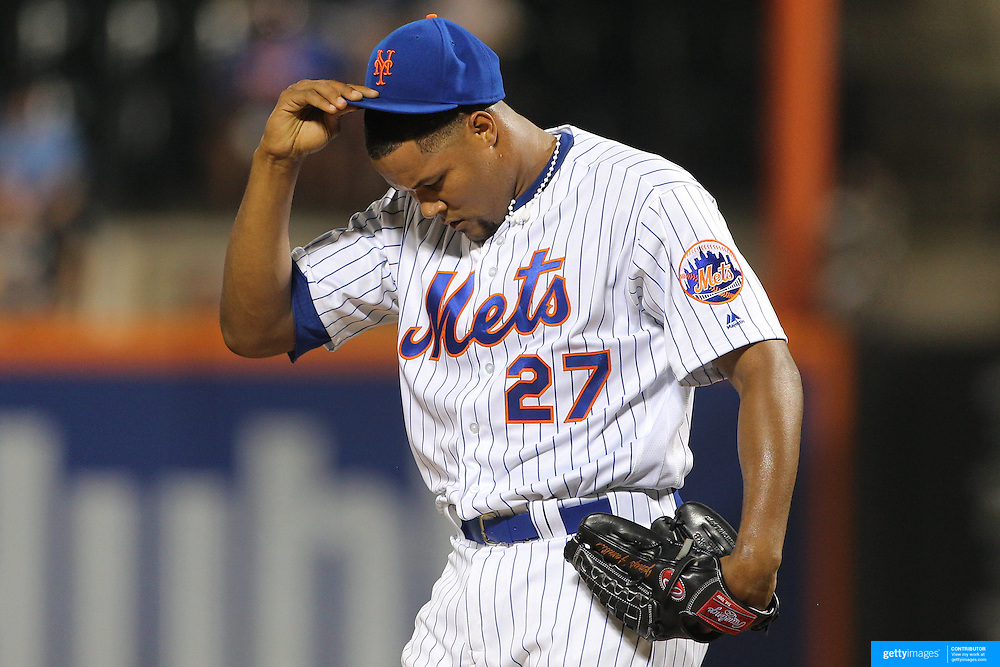 NEW YORK, NEW YORK - July 27: Pitcher Jeurys Familia #27 of the New York Mets during his blown save in the St. Louis Cardinals Vs New York Mets regular season MLB game at Citi Field on July 27, 2016 in New York City. (Photo by Tim Clayton/Corbis via Getty Images)