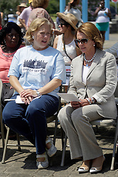 29 August 2015. Lower 9th Ward, New Orleans, Louisiana.<br /> Hurricane Katrina 10th anniversary memorials.  <br /> Former senator Mary Landrieu Congresswoman Nancy Pelosi attend the memorial. <br /> Photo credit©; Charlie Varley/varleypix.com.