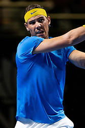 January 7, 2019 - Sydney, NSW, U.S. - SYDNEY, AUSTRALIA - JANUARY 07: Rafael Nadal (ESP) hits a backhand at The Sydney FAST4 Tennis Showdown on January 07, 2018, at Qudos Bank Arena in Homebush, Australia. (Photo by Speed Media/Icon Sportswire) (Credit Image: © Steven Markham/Icon SMI via ZUMA Press)