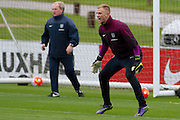 England goalkeeper Joe Hart shouts at his players during the England Training Session at St George's Park National Football Centre, Burton-Upon-Trent, United Kingdom on 7 October 2015. Photo by Aaron Lupton.