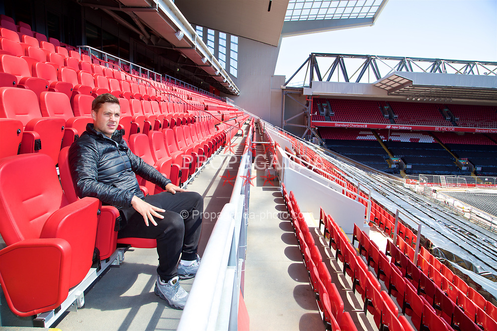 LIVERPOOL, ENGLAND - Sunday, June 18, 2017: Marcus Willis visits Anfield during Day Four of the Liverpool Hope University International Tennis Tournament 2017. (Pic by David Rawcliffe/Propaganda)