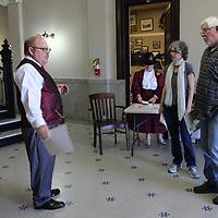 Jack Hamilton, left, explains the history of Aberdeen City Hall.