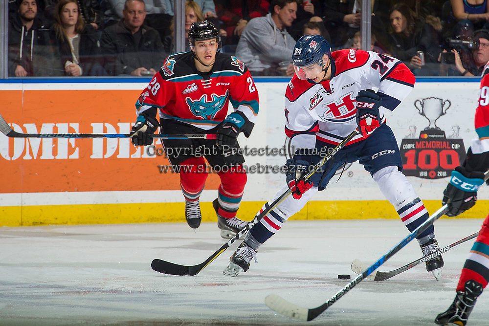 KELOWNA, CANADA - NOVEMBER 17: Leif Mattson #28 of the Kelowna Rockets skates against Dylan Cozens #24 of the Lethbridge Hurricanes on November 17, 2017 at Prospera Place in Kelowna, British Columbia, Canada.  (Photo by Marissa Baecker/Shoot the Breeze)  *** Local Caption ***