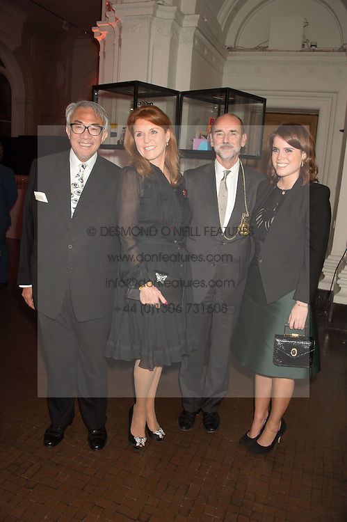Left to right, SIR DAVID TANG, SARAH, DUCHESS OF YORK, CHRISTOPHER LE BRUN and PRINCESS EUGENIE OF YORK at a dinner to celebrate Sir David Tang's 20 year patronage of the Royal Academy of Arts and the start of building work on the Burlington Gardens wing of the Royal Academy held at 6 Burlington Gardens, London on 26th October 2015.