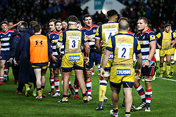 Mark Sorenson consoles the Worcester Players after Bristol Rugby win 28-20 - Rogan Thomson/JMP - 26/12/2016 - RUGBY UNION - Ashton Gate Stadium - Bristol, England - Bristol Rugby v Worcester Warriors - Aviva Premiership Boxing Day Clash.