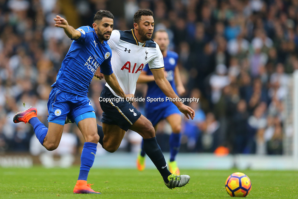 29 October 2016 - Premier League - Tottenham Hotspur v Leicester City - Mousa Dembele of Tottenham Hotspur in action with Riyad Mahrez of Leicester City - Photo: Marc Atkins / Offside.