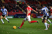 Charlton Athletic defender Morgan Fox bursting into the box to set up another chance during the Sky Bet Championship match between Charlton Athletic and Sheffield Wednesday at The Valley, London, England on 7 November 2015. Photo by Matthew Redman.