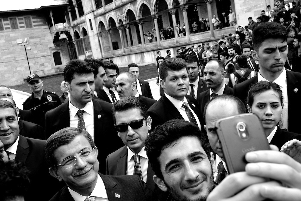 A selife with former Prime Minister Ahmet Davutoglu outside the Blue Mosque.