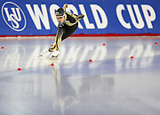 Japan's Miyako Sumiyoshi in action during women's 1,000m Division A of the ISU Speed Skating World Cup at Taerung International Skating Rink in Seoul, South Korea, November 23, 2014.  Photo by Lee Jae-Won