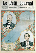 Opening of a wireless telegraph link between Paris and Casablanca, showing men whose work made it possible the Frenchman, Edouard Branly (1844-1940), and the Italian, Guglielmo Marconi (1874-1937). From 'Le Petit Journal', Paris, 1907.