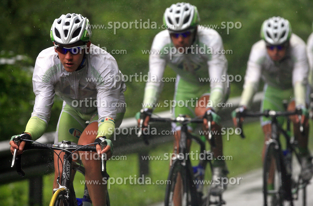 Riders of team Perutnina Ptuj (in front Kristjan Fajt of Slovenia (Perutnina Ptuj)) leading the peloton in last 4th stage of the 15th Tour de Slovenie from Celje to Novo mesto (157 km), on June 14,2008, Slovenia. (Photo by Vid Ponikvar / Sportal Images)/ Sportida)