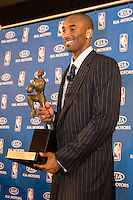 06 May 2008: Guard Kobe Bryant of the Los Angeles Lakers poses for the media after winning the 2008 Most Valuable Player award in Los Angeles, CA.