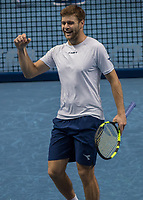 Tennis - 2017 Nitto ATP Finals at The O2 - Day Three<br /> <br /> Mens Doubles: Group Eltingh/Haarhus: Pierre-Hugues Herbert (France) & Nicolas Mahut (France) Vs Ryan Harrison (United States) & Micheal Venus (New Zealand)<br /> <br /> Ryan Harrison (United States) celebrates after his doubles team make he semi finals following their victory at the O2 Arena <br /> <br /> COLORSPORT/DANIEL BEARHAM