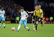 Ayoze Perez takes on Ben Watson during the The FA Cup Third Round match between Watford and Newcastle United at Vicarage Road, Watford, England on 9 January 2016. Photo by Dave Peters.
