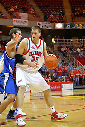 06 January 2007: Levi Dyer backs in against Trent Wurtz. The Sycamores of Indiana State University topped the Redbirds home 54 - 50 inside Redbird Arena in Normal Illinois on the campus of Illinois State University.<br />