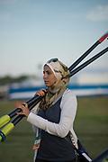 Sarasota. Florida USA. General View, Boat Park, Eygpt Team Manager, Sarah ELDEB, carries the blade/oars to the boating dock at the General View, Boat Park at the World Rowing Championships, Nathan Benderson Park<br /> <br /> Monday  25.09.17   <br /> <br /> [Mandatory Credit. Peter SPURRIER/Intersport Images].<br /> <br /> <br /> NIKON CORPORATION -  NIKON D4S  lens  AF 85mm f/1.4G mm. 200 ISO 1/5000/sec. f 1.4