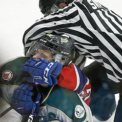 COBOURG, ON  - MAR 4,  2017: Ontario Junior Hockey League, playoff game between the Cobourg Cougars and the Kingston Voyageurs  <br /> (Photo by Tim Bates / OJHL Images)