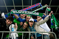 Fans of Slovenia during EURO 2012 Quaifications game between National teams of Slovenia and Italy, on March 25, 2011, SRC Stozice, Ljubljana, Slovenia. (Photo by Vid Ponikvar / Sportida)
