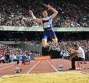 Greg Rutherford GBR long jumper during the Sainsbury's Anniversary Games at the Queen Elizabeth II Olympic Park, London, United Kingdom on 25 July 2015. Photo by Mark Davies.