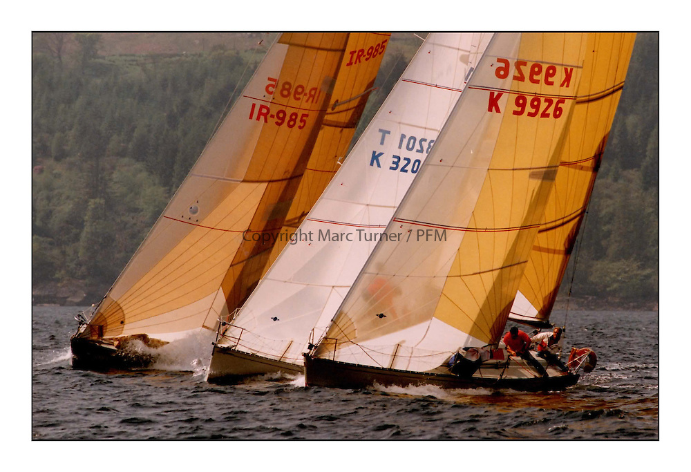 The Clyde Cruising Club's Scottish Series held on Loch Fyne by Tarbert. <br /> <br /> <br /> Cammanche Raider; Decision and Gorsebush<br /> <br /> 1992<br /> <br /> Picture Copyright  PFM Pictures