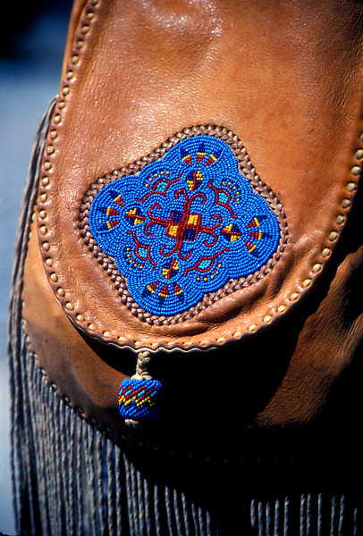 Close Up of Leather Bag With Beadwork