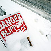 A warning sign during a snow fall in Dublin