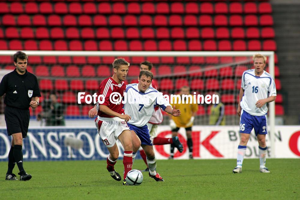 02.06.2005, Ratina Stadium, Tampere, Finland..Friendly International match, Finland v Denmark.Mika Nurmela (Finland) v Martin J¿rgensen (Denmark).©Juha Tamminen