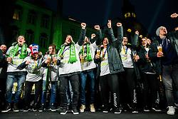 Nik Henigman, Zan Rant Roos, Miha Zarabec, Gasper Marguc, Blaz Janc, Tilen Kodrin, Uros Serbec, Uros Mohoric, Matevz Skok during reception of Slovenian National Handball Men team after they placed third at IHF World Handball Championship France 2017, on January 30, 2017 in Mestni trg, Ljubljana centre, Slovenia. Photo by Vid Ponikvar / Sportida