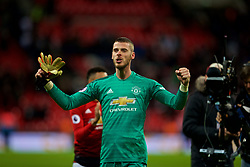LONDON, ENGLAND - Sunday, January 13, 2019: Manchester United's goalkeeper David de Gea celebrates after his side's 1-0 victory over Tottenham Hotspur after the FA Premier League match between Tottenham Hotspur FC and Manchester United FC at Wembley Stadium. (Pic by David Rawcliffe/Propaganda)