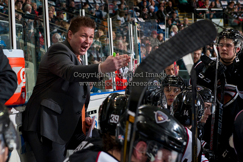 KELOWNA, CANADA - MARCH 10: Vancouver Giants' head coach Jason McKee stands on the bench and speaks to players during a second period time out against the Kelowna Rockets on March 10, 2017 at Prospera Place in Kelowna, British Columbia, Canada.  (Photo by Marissa Baecker/Shoot the Breeze)  *** Local Caption ***