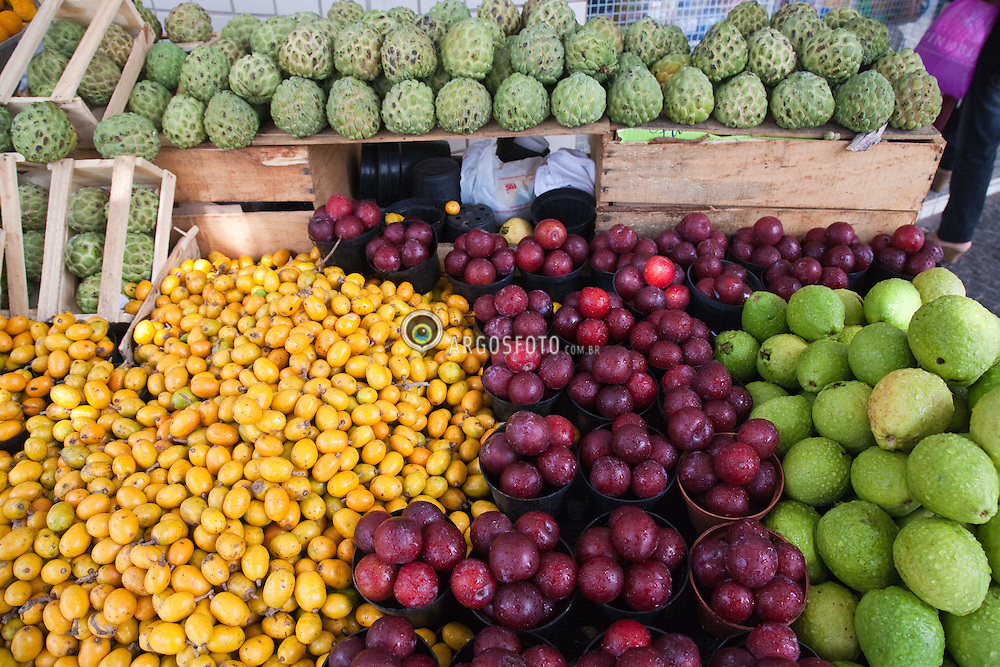 Banca de frutas no centro de Goiania, com fruta do conde (ao fundo) seriguela, ameixa e goiaba / Fruit stand at Goiania city, in Brazil. Jocote, plum, Apple Guava and Sugar-apple at the second plane.