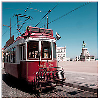 Lisbon touristic tram in Praça do Comercio