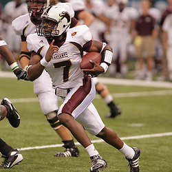 20 September 2008: Louisiana-Monroe quarterback Kinsmon Lancaster (7) scrambles out of the pocket during a Conference USA match up between the University of Louisiana Monroe and Tulane at the Louisiana Superdome in New Orleans, LA.