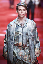 June 17, 2017 - Milan, Italy - A model walks the runway for fashion house Dolce and Gabbana during Milan Men's Fashion Week Spring/Summer 2018 in Milan. (Credit Image: © Jin Yu/Xinhua via ZUMA Wire)