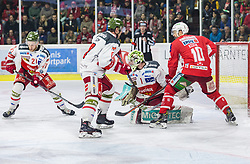 17.03.2019, Stadthalle, Klagenfurt, AUT, EBEL, EC KAC vs HCB Suedtirol Alperia, Viertelfinale, 3. Spiel, im Bild Daniel GLIRA (HCB Suedtirol Alperia, #21), Marco INSAM (HCB Suedtirol Alperia, #8), Jacob SMITH (HCB Suedtirol Alperia, #1), Andrew KOZEK (EC KAC, #10) // during the Erste Bank Icehockey 3rd quarterfinal match between EC KAC and HCB Suedtirol Alperia at the Stadthalle in Klagenfurt, Austria on 2019/03/17. EXPA Pictures © 2019, PhotoCredit: EXPA/ Gert Steinthaler