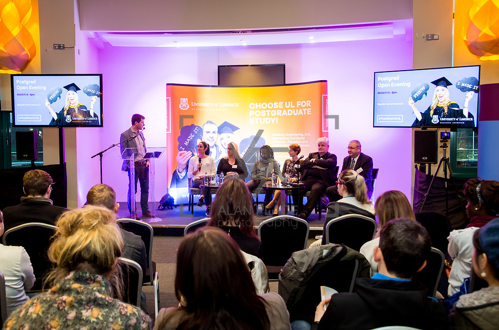 09.03.2017<br /> Dr. Stephen Kinsella, senior lecturer in Economics, KBS, University of Limerick leads the panel discussion during the  University of Limerick Post Grad Open Evening in the North Campus Pavilion. Picture: Alan Place