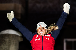 March 10, 2019 - –Stersund, Sweden - 190310 Tiril Eckhoff of Norway celebrates her second place at the medal ceremony for the Women's 10 km Pursuit during the IBU World Championships Biathlon on March 10, 2019 in Östersund..Photo: Petter Arvidson / BILDBYRÃ…N / kod PA / 92256 (Credit Image: © Petter Arvidson/Bildbyran via ZUMA Press)