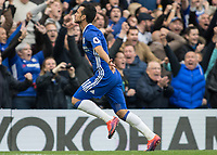 Football - 2016/2017 Premier League - Chelsea V Manchester United<br /> <br /> Pedro of Chelsea runs to the corner flag after opening the scoring at Stamford Bridge.<br /> <br /> COLORSPORT/DANIEL BEARHAM
