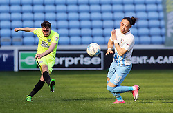 Michael Smith of Peterborough United clears the ball away from Jodi Jones of Coventry City - Mandatory by-line: Joe Dent/JMP - 08/04/2017 - FOOTBALL - Ricoh Arena - Coventry, England - Coventry City v Peterborough United - Sky Bet League One