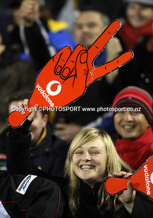 A Warriors fan during the NRL rugby league match between the Vodafone Warriors and the Penrith Panthers at Mt Smart Stadium, Auckland on Friday 22 June 2007. Photo: Andrew Cornaga/PHOTOSPORT **NO COMMERCIAL USE**<br />