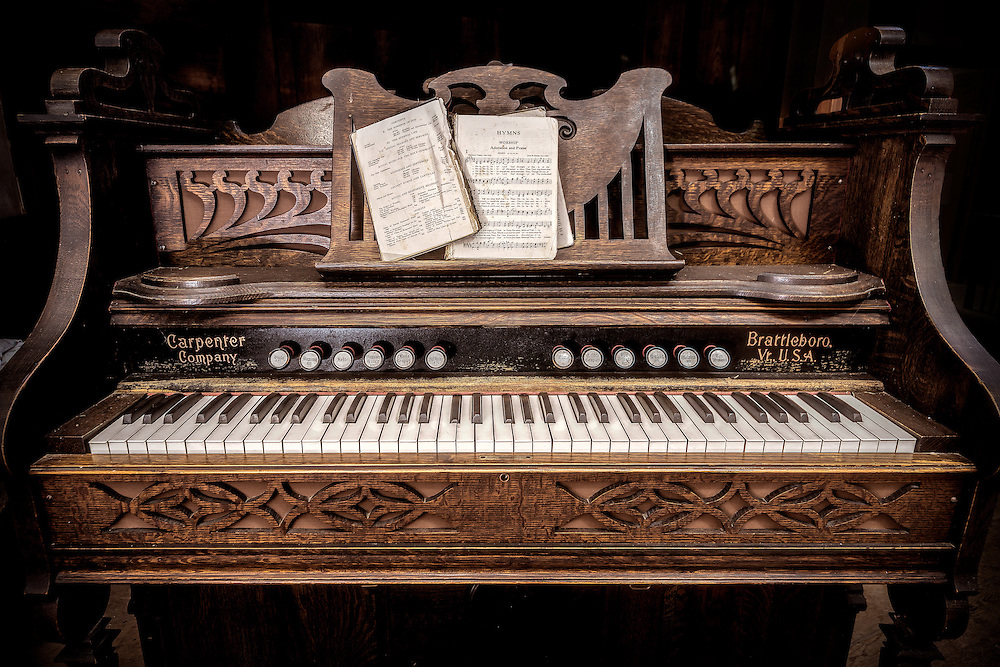 On old pump organ inside an abandoned church in northern, PA.