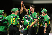The Stags celebrate a wicket during the Burger King Super Smash Twenty20 cricket match Knights v Stags played at Bay Oval, Mount Maunganui, New Zealand on Wednesday 27 December 2017.<br /> <br /> Copyright photo: © Bruce Lim / www.photosport.nz