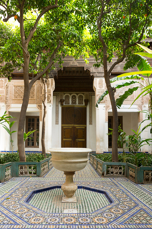Bahia Palace riad garden courtyard space, Marrakesh, Morocco, 2016–04-21. <br />