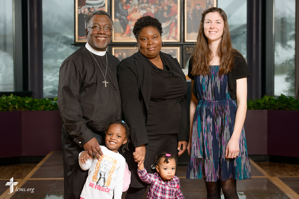 A new national missionary portrait, with (L-R), the Rev. Delwyn Campbell, national missionary to Gary, Ind., with his wife Lenita and daughters Daniyah and Dinah, and Rebecca Schaff, national missionary to Minneapolis, at The Lutheran Church–Missouri Synod on Monday, March 13, 2017, in St. Louis. LCMS Communications/Erik M. Lunsford