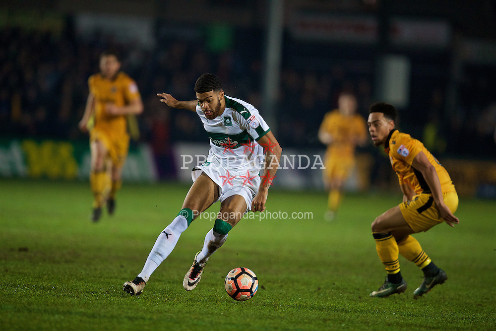 NEWPORT, WALES - Wednesday, December 21, 2016: Plymouth Argyle's Jake Jervis in action against Newport County during the FA Cup 2nd Round Replay match at Rodney Parade. (Pic by David Rawcliffe/Propaganda)