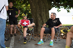 Chilling in the shade: Doris Schweizer and Manel Lacambra (Cylance Pro Cycling) at the final stage of the Giro Rosa 2016 on 10th July 2016. A 104km road race starting and finishing in Verbania, Italy.